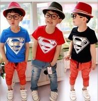 New 2014 Cartoon Superman Kids T-Shirt for Summer Children Clothes Girls/Boys' T-shirts Free Shipping 31083