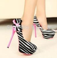 FREE SHIPPING 2014 LD-P1752 Korea Nightclub Fashion Yellow/Rose Red 13.5CM Ultra High heel Pumps Platform Weddding/Party Shoes