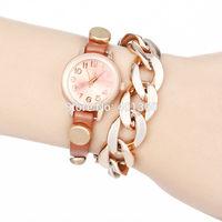 2014 New Fashion PU Leather Strap Wristwatch Golden Case Wrap Watches Chain Dress Women Rhinestone Watch
