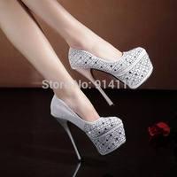 FREE SHIPPING 2014 LD-P1758Europe&American Fashion Shining Nightclub 15CM Ultra High heel Pumps Platform Weddding/Party Shoes