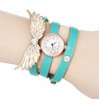 2014 New Fashion PU Leather Strap Long Wrap Women Dress Watches Lady Clocks Wing Women Rhinestone Watch