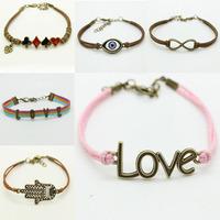 1pcs shipping Best gift Vintage anchor infinity bracelet Multicolor woven leather bracelet girls jewelry bracelet