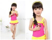 NWT Wholesale 1set  New 2014 Girls Children Swimwear Children Swimsuit Kids Swimwear Supper Cute Lovely Baby Swimsuit Baby Skirt