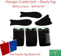 "Good quality 6pcs/set Massage Guasha tool Gua sha plate 100% Buffalo Horn ""2 fish board+2 square board"""