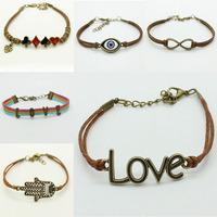 1pcs shipping 2014 new Design Metal peach heart love Infinity bracelet Leather Multilayer bracelet lady SHOP
