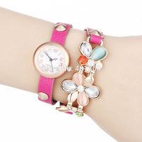 2014 New Fashion PU Leather Strap Wristwatch Golden Case Wrap Watches Flower Dress Women Rhinestone Watch