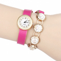 2014 New Fashion PU Leather Strap Wrap Watches Wristwatch Golden Case Chain Dress Women Rhinestone Watch
