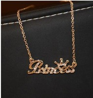 freeshipping,freeshipping!14k The English English letters  The queen and princess   necklace   Free shipping wholesale