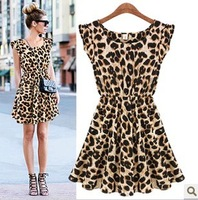 Freeshipping 2014 New arrival  sleeveless o-neck slim waist leopard print one-piece dress