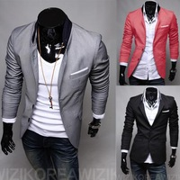 M-4XL SIZE 2014 new Men's Casual Slim Stylish fit One Button Suit Blazer Coat Jackets FREE SHIPPING m248