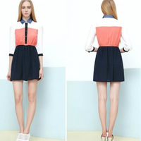 The new spring of 2014 Lapel in phase color sleeve chiffon dress with belt
