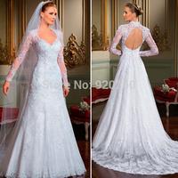 2014 elegant sexy long sleeve V neck backless beaded ball gown wedding dresses
