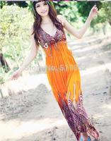 Overlength Women's Bohenmia Pleated Wave Princess Milk Silk Maxi Long Sleevelessl V-Neck Dress Peafowl Pattern Mixed Colors