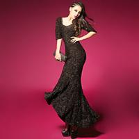 Free shipping 2014 autumn new hot sexy goddess shipping flash silver halter dress fishtail evening dress skirt party dress