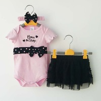 Drop Shipping 2014 Baby Summer clothing sets Grils Fashion 3 Piece suits Pink Romper/Tutu Skirt /Headband Newborn baby clothes