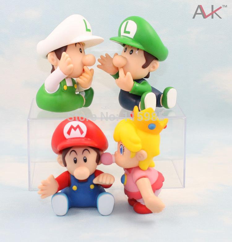 9cm 4pcs/lot Baby Super Mario Bros dolls Luigi Mario princess Action Figures Toys Doll anime kids children gift free shipping(China (Mainland))
