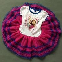 Free Shipping - retail new kids/children/girls short sleeve frozen tutu dress, anna and elsa dress, 4 to 6X(MOQ: 1pc)