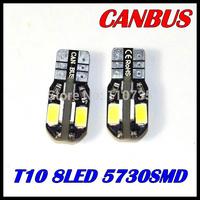 Free shipping 10PCS/lot Car Auto LED T10 194 W5W Canbus 8 smd 5630 5730 LED Light Bulb No error led light