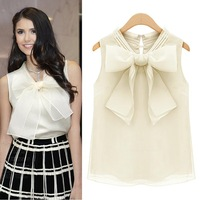 2014 Summer Big Bowknot Sleeveless Vest Chiffon Shirt