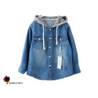 New Children Clothing Spring and Autumn Boys Denim Hooded  Long-sleeved Cotton Shirt Cowboy Shirt Children outwear