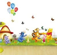 XY8082 New Free Shipping Popular Children's room wall cartoon Winnie the Pooh Wall Sticker Wall Mural Home Decor Room Kids
