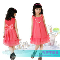 2014 girls summer chiffon dress pearl  Suitable for 3 to 12 years old