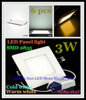 Free shipping 6 pcs Square LED Panel Light 3W AC 85-265V 85mm 165 lumen SMD 2835 spotlight lamp bulb led ceiling light lighting