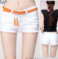 Promotion Lady Denim Shorts,Women's Jeans Shorts,Hot Sale Ladies' Short Pants Plus Size 25-31 black white destroyed shorts belt
