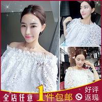 Two wear ! Super beautiful lace strapless neck lace shirt short paragraph loose sweet princess Sen female line new shirt