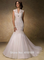 Free Shipping Custom Made Fashion V-neck Cap Sleeve Lace Tulle Mermaid Wedding dress Wedding Gowns