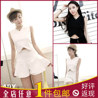 Exclusive custom- tailored double-thick lo shi special shorts sleeveless t-shirt short paragraph Slim V -neck T- new 2014