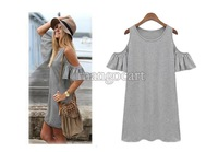 Summer 2014 Dress Women's Clothes Butterfly Sleeve Cotton Cute Strapless Dress Plus Size Novelty T Shirt Dress