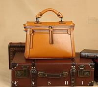 Brand Fashion 100% Genuine Leather Women Shoulder Bags Vintage Totes Bag Famous Designer Style