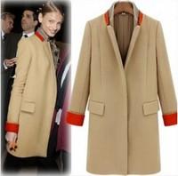 2014 cool color block decoration stand collar overcoat beige black
