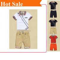 Summer 2014 new kids high quality 100% cotton child boy brand set Children clothes boy t shirt+shorts sports suit Clothing