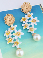 Bohemian temperament long section of female flower earrings jewelry fashion beauty head pearl earrings