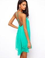 Free Shipping! 2014 new Summer fashion women Dress sexy cross sleeveless vestidos chiffon dress women dresses