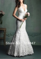 New Style Elegant Long White/Ivory Lace Mermaid/Trumpet V-neck Applique Wedding Dresses Custom Size Free Shipping