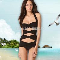 2014 Promotions!! Monokinis Bikini Plus Size Swimwear Fashion Bandage Swimsuit Cheap Bathing Suit Beachwear Free Shipping 1439B