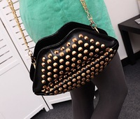 2014 new wave of European and American style rivet handbags kiss lips clutch chain shoulder bag Messenger packet