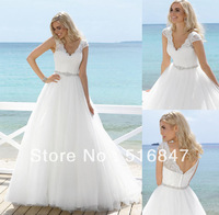 2014 Hot sale New Fashion Long White/ivory Tulle A-Line Cap Sleeve V-neck Bridal Gown Wedding Dresses Custom Size Free Shipping