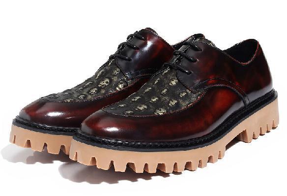 stile vintage in vera pelle Oxford teschio e ossa incrociate piattaforma scarpe da uomo