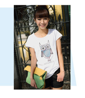 2014 spring and summer female owl t-shirt printing simple fashion student sister-sleeved dress long section T B641-6516