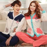 2 set autumn 100% cotton female spring and autumn long-sleeve cardigan lounge male fashion lovers sleepwear