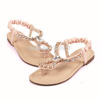 Women Sandals Shoes retail Flip-flop sandals flip shoes woman flat bohemia beaded soft outsole sweet size 35-39