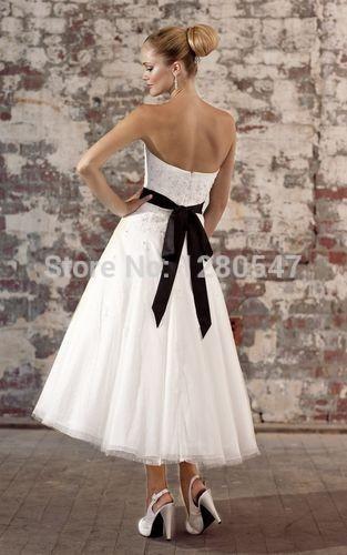 2014 New Black and White Strapless A-line Beaded Applique Organza Tea Length wedding dress 2 4 6 8 10 12 14 16+++(China (Mainland))