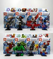 2014 Box The Avengers  Action Figures 8PCS/Set  PVC Cute  Captain America/Hulk/Ironman  Building Blocks  Free Shipping