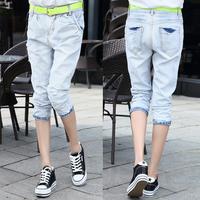 Denim harem pants female slim light color denim capris skinny pants embroidery women's trousers