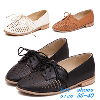 NEW 2014 Hollow Out  Lacing Leather Sandals Shoes Women's Oxfords Casual Loafers Sneakers For Women Flats Shoes