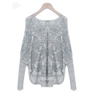 new 2014 fashion sweater women casual loose long sleeve hollow out pullover spring knitter women sweater 9925